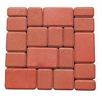Плитка тротуарная, сухопрессованная, старый город (h 4см) (красная)