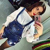 Модный молодежный джинсовый комбинезон-шортиками