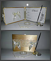 """Книга для пожеланий """"Свадебный бант"""" золото"""