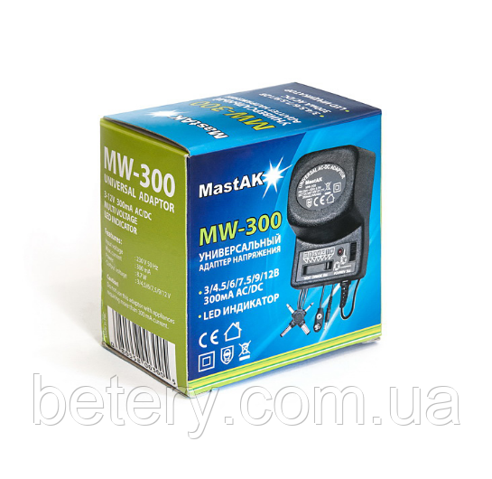 Мережевий блок живлення MastAK MW-300 3-12V, 300mA + роз'єми