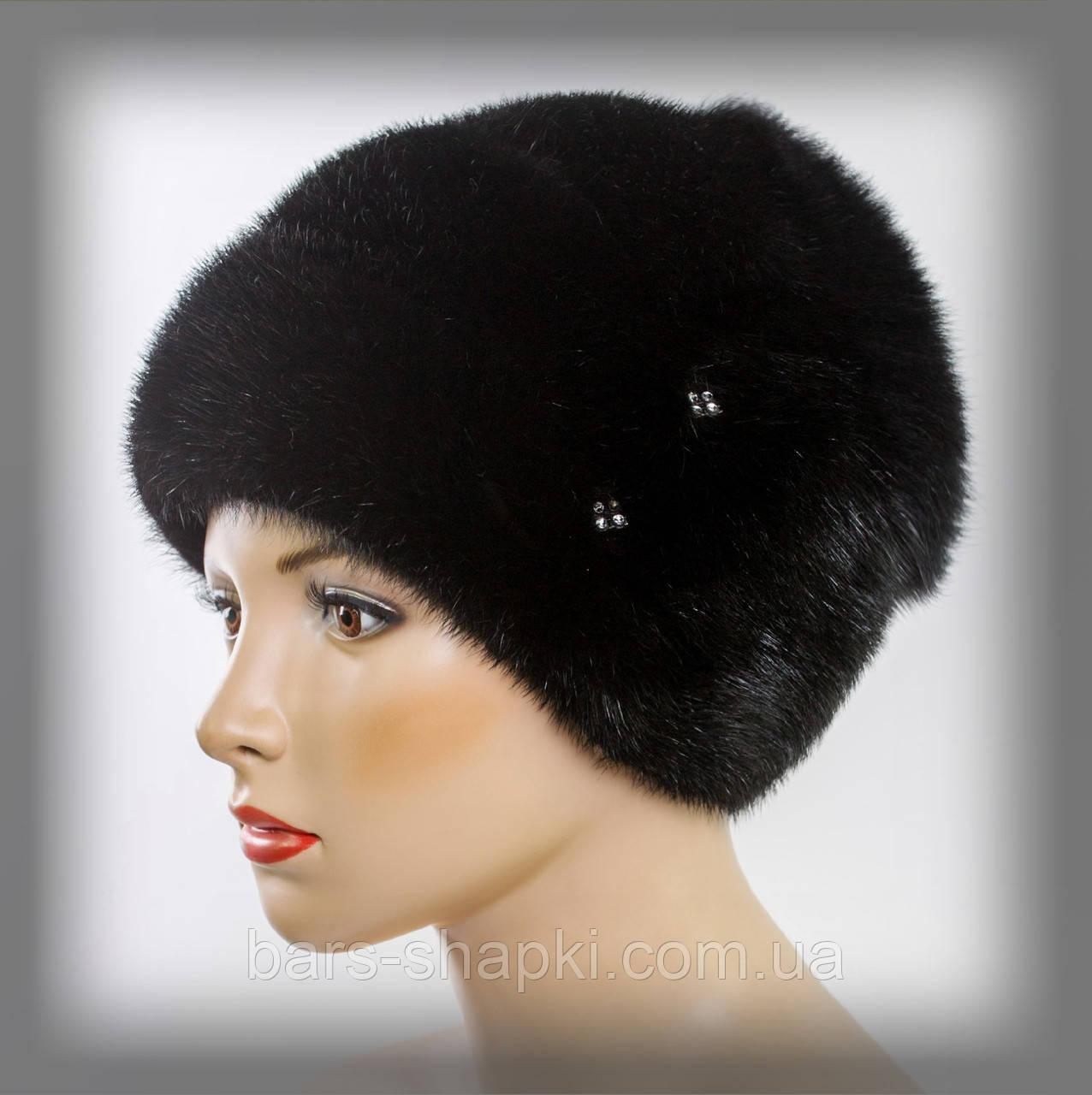 Женская норковая шапка с отделкой из песца (черная)