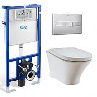 Комплект Rocа: унітаз NEXO Clean Rim, інсталяція PRO, кнопкa, сидіння A34H64L000+89009000K+890096001