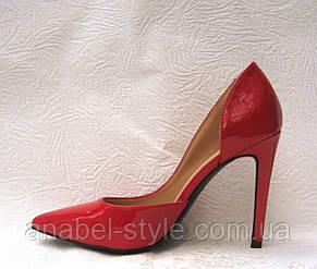 Туфли женские стильные лаковые на шпильке красные, фото 2