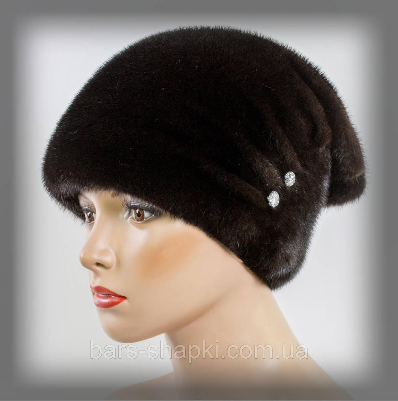 Хутряна шапка з норки зі складками (темно-коричнева)