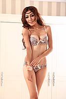 Шикарный кружевной женский сексуальный набор комплект белья бра лифчик трусики push-up пушап