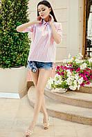 Женская коттоновая блуза с пуговицами на спине