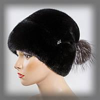 Женская норковая шапка с бубоном из чернобурки (черная)