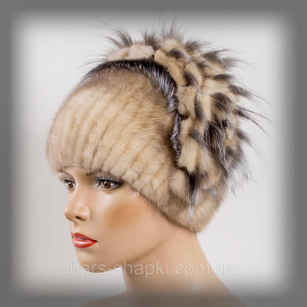"""Женская шапка из нашивной норки """"Водопад"""" (колотый лёд)"""