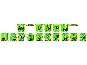 """Гирлянда на украинском языке """"С днем рождения"""" Черепашки Нинзя"""