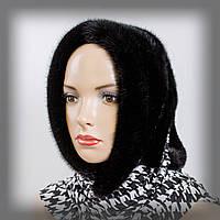 Меховой платок из норки на черно-белом трикотаже (черный)