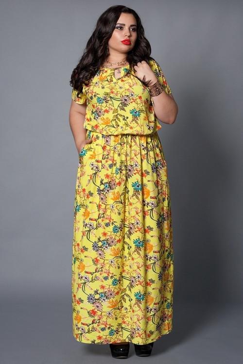 Платье макси желтое