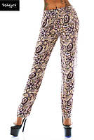 Штаны женские с карманами Цветные узоры - Бежевый