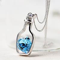 Кулон подвеска Сердце в бутылке синее