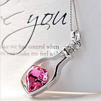 Кулон подвеска Сердце в бутылке розовое
