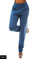 Штаны женские с карманами на лето - Синие