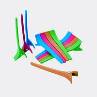 Парикмахерские зажим пластиковые цветные для волос 12 шт, YRE