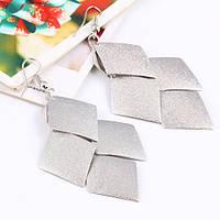 Серьги Ромбики серебро, фото 1