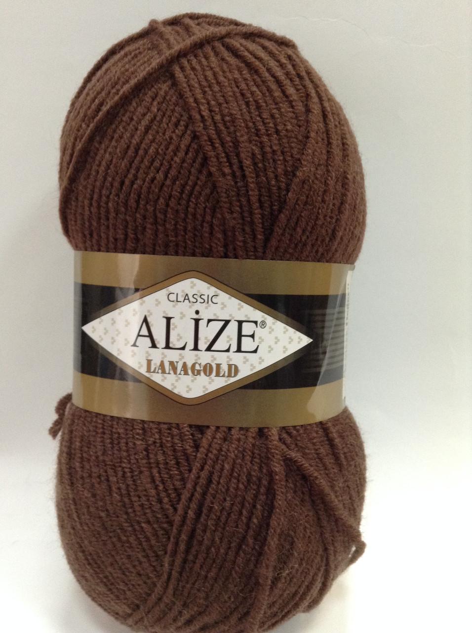 Пряжа lana gold - цвет темно-коричневый