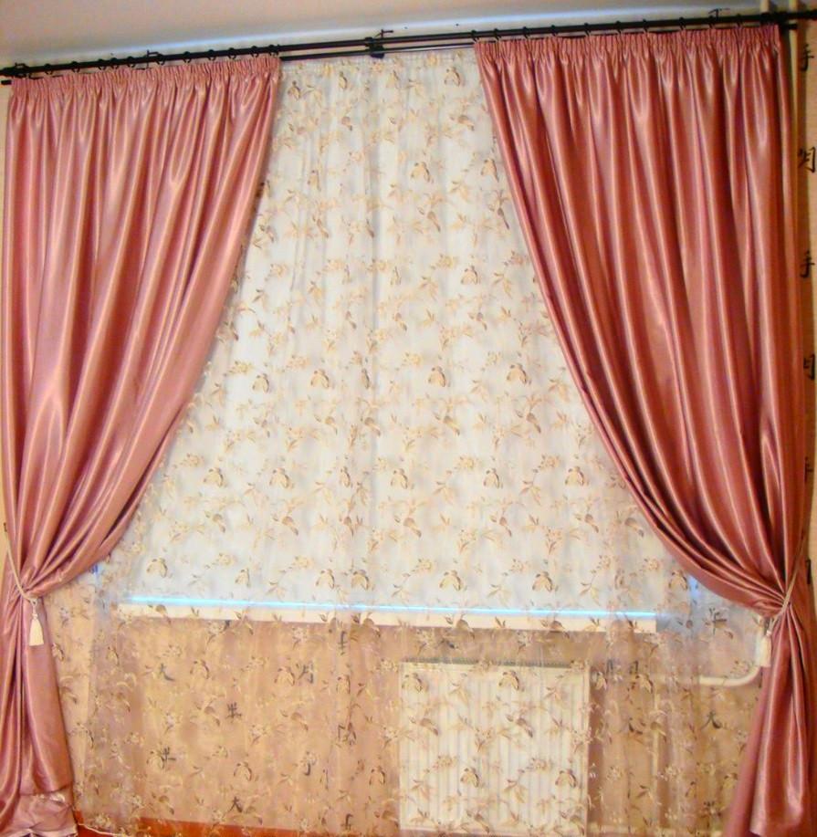 Шторы портьерные Шанзелизе Розовые(2 шторы)