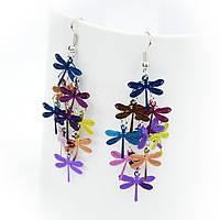 Серьги Стрекоза разноцветные, фото 1