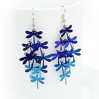 Серьги Стрекоза синие, фото 1
