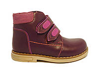 Кожаные весенние ботинки на девочку 26-30 бордовые