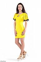 Платье повседневное, женское, до колена, желтое, летнее