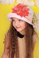 Красивая детская панамка (персиковая) р-ры 48,50,52