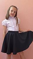 """Школьная юбка для девочек """"Клеш"""" черный, р-ры 28-38"""