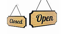 Табличка Open - Closed (Открыто - Закрыто), дерево, 30х15х1,2см.