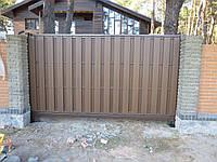 Ворота-металлический каркас с наполнением террасной доской