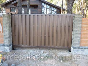 Ворота металлический каркас с наполнением террасной доской