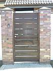 Ворота металлический каркас с наполнением деревянной доской, фото 3