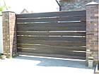 Ворота металлический каркас с наполнением деревянной доской, фото 2