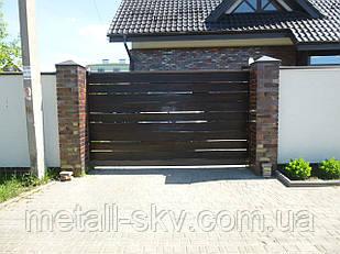 Ворота металлический каркас с наполнением деревянной доской
