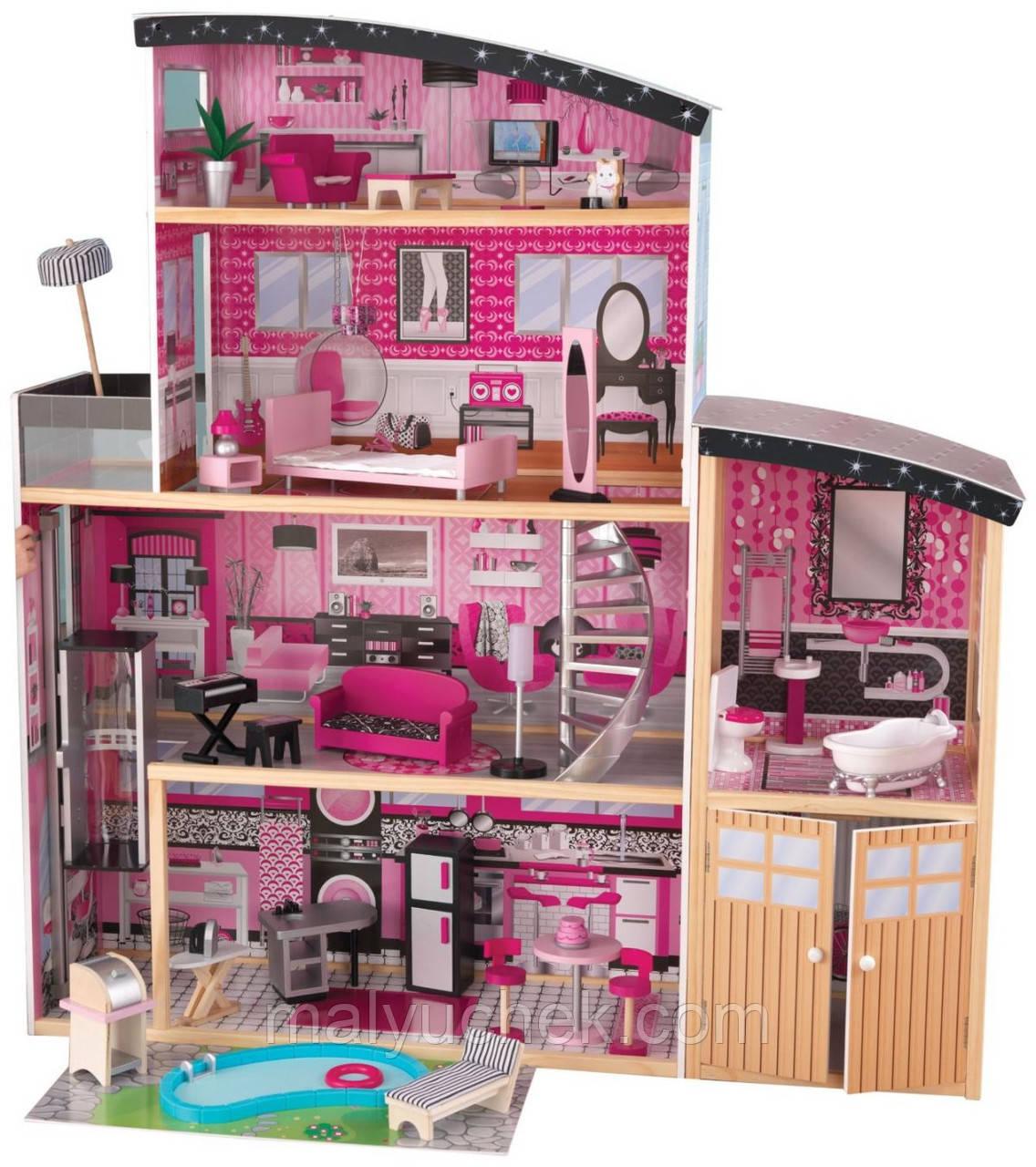 Кукольный домик с мебелью и гаражом SUNNYWOODS Алина - купить по ... | 1280x1136