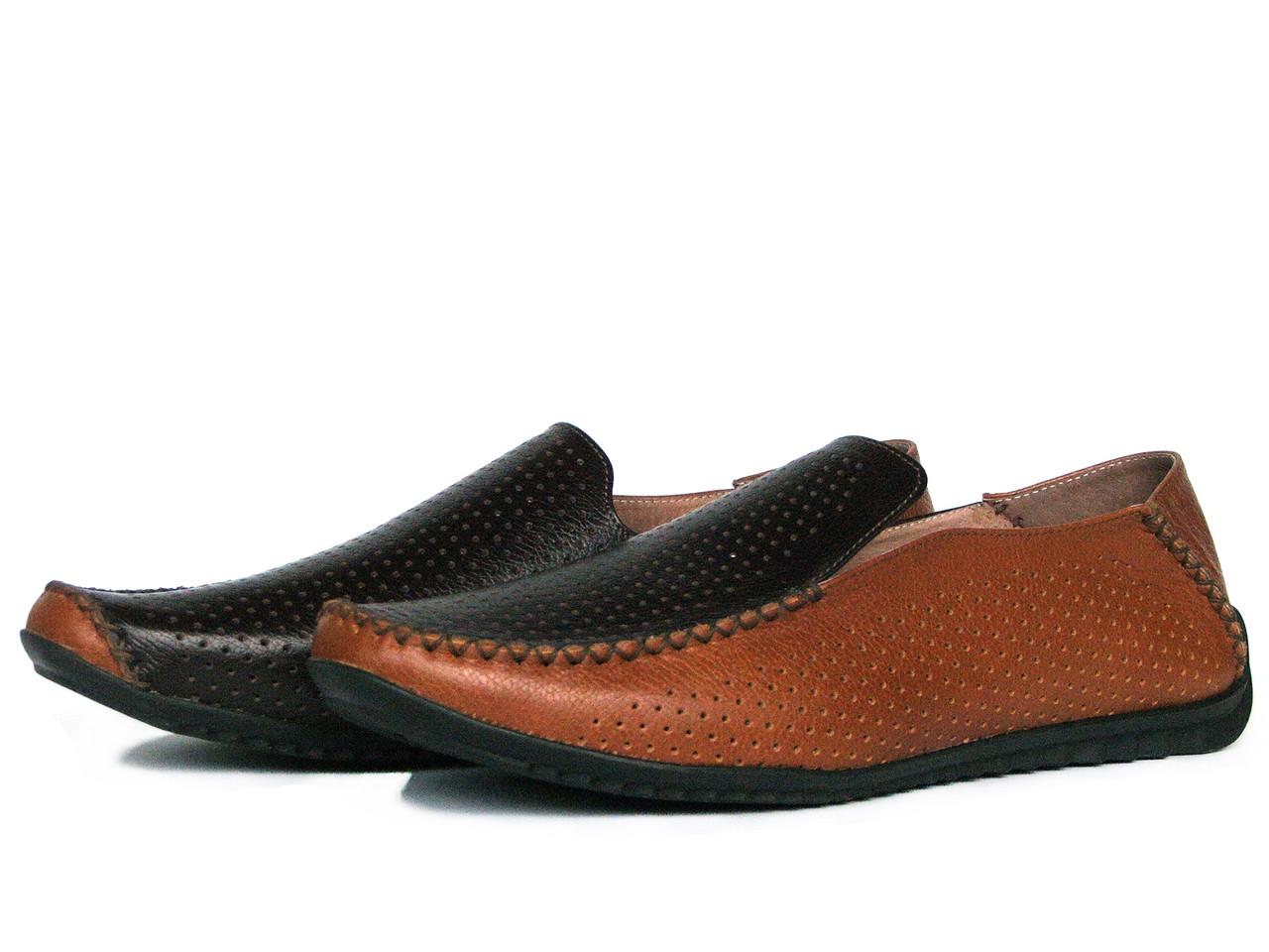 Мужские коричневые кожаные мокасины с перфорацией