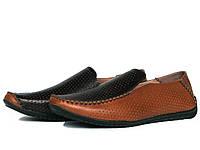 Мужские коричневые кожаные мокасины с перфорацией, фото 1