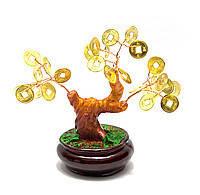 Дерево с монетами 12см,деревья счастья, декоративные деревья,искусственные бонсаи,товары для дома