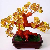 Дерево с монетами 20см,деревья счастья, декоративные деревья,искусственные бонсаи,товары для дома