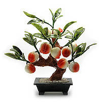 Персиковое дерево фен шуй, 12 плодов, 25см,деревья счастья, декоративные деревья,искусственные бонсаи