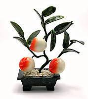 Персиковое дерево фен шуй, 3 плода, 18см,деревья счастья, декоративные деревья,искусственные бонсаи