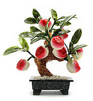 Персиковое дерево фен шуй, 8 плодов, 20см,деревья счастья, декоративные деревья,искусственные бонсаи