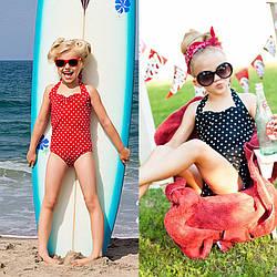 Детский модный купальник в горошек