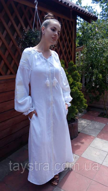 Свадебное вышитое платье бохо вышиванка лен b91438886128a