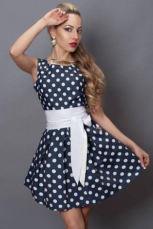 Красивое модное летнее стрейчевое платье в белый горох, фото 2