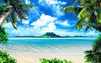 Фотоплитка Панно Пляж и пальмы, плитка 20х30см.