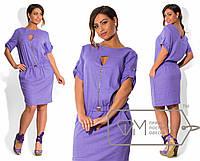 Льняное платье Батал с вырезом к-202176