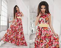 """Женское длинное цветочное платье без рукава """"Феерия"""""""