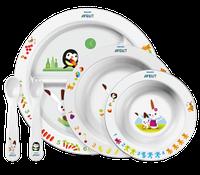 Детский столовый набор посуды Philips Avent с развивающими рисунками